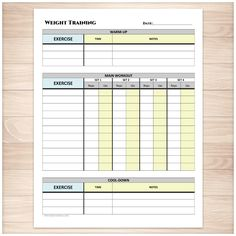 Weight Training Daily Log with Warm-up and Cool-down - Printable