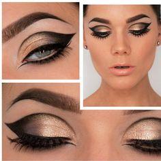 Golden Smokey Eye Makeup Tutorial by Lisa Eldridge So cool! I'd be so happy! Art Deco Makeup, Makeup Art, Makeup Tips, Beauty Makeup, Makeup Lessons, Makeup Primer, Makeup Tutorials, Makeup Trends, Makeup Ideas