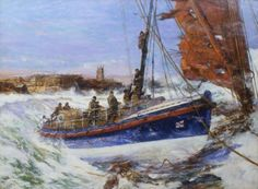 """""""The Coxswain Henry Blogg Driving the Cromer Lifeboat onto the Deck of the Barge 'Sepoy', December 1933"""" by Charles Dixon"""
