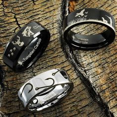 A few of our favorite hunting and fishing rings. The perfect rings for anyone who loves deer hunting, duck hunting, or fishing! of designs to choose from check us out! Duck Hunting, Tungsten Carbide, The Great Outdoors, Deer, Fishing, Personalized Items, Rings, Check, Design