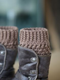 One pair of crochet boot cuffs / boot socks / boot toppers in taupe or medium brown color