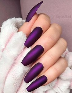 Stunning Long Nail Art Types & Tips for 2019 - Nails Gel Nails - . - Stunning Long Nail Art Types & Tips for 2019 - nails gel nails - # Gelnägel - Dark Purple Nails, Mint Nails, Dark Nails, Purple Chrome Nails, Violet Nails, Purple Nail Art, Matte Nail Art, Gradient Nails, Holographic Nails