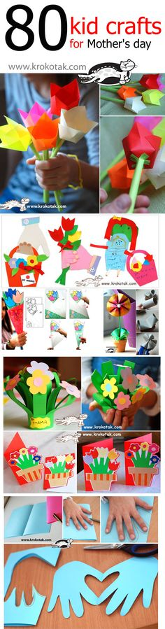80 kid crafts for mother's day. I'll definitely try to do some of this, for Mother's Day or any other day! Kids Crafts, Crafts To Do, Preschool Crafts, Projects For Kids, Craft Projects, Arts And Crafts, Paper Crafts, Craft Ideas, Fun Ideas