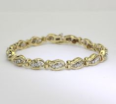 Diamond wave bracelet 14K yellow gold round brilliant 1.25CTS