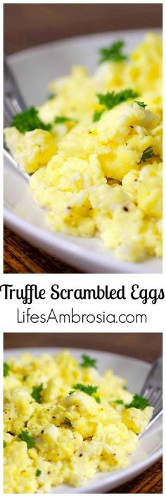 Tired of boring scrambled eggs? Jazz up the good ol' breakfast standby with cream cheese and a little truffle salt.