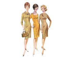 Super cute, 3 different sleeve lengths, fitted, shift dress pattern - 1963 Complete Original Butterick Pattern #2535