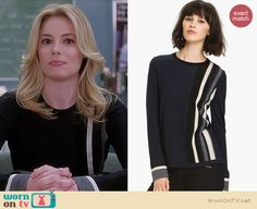 Britta's black, grey, navy and white colorblock sweater on Community.  Outfit details: http://wornontv.net/15438/