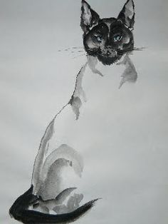 chinese painting by Tracy Frick  cat  art