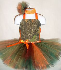This is so adorable & just perfect for Flower Girl to wear in Camouflaged Wedding Theme.  .................................................... Mossy Oak Tutu Dress for Flower Girl Camo Orange Wedding | eBay