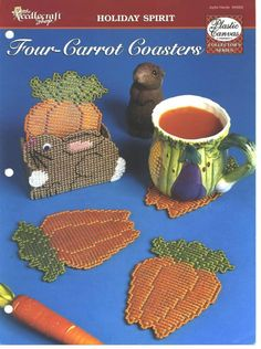 Plastic Canvas Four-CARROT coasters page 1 of 2.Yes you can have four carrots in your coasters.