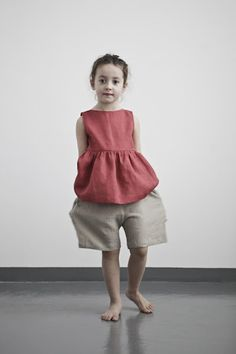 Pucker thick washed natural linen accords a unique, fine hanging look. Light carelessness is felt through the erratic texture of raw flax NOW AVAILABLE AT MUKU SHOP Cool Kids Clothes, Cute Outfits For Kids, Baby Outfits, Baby Girl Fashion, Kids Fashion, Kids Patterns, Young Fashion, Kid Styles, Kind Mode