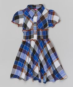 Look what I found on #zulily! Blue & Brown Plaid Shirred Dress - Toddler & Girls by Maria Elena #zulilyfinds