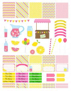 Printable Planner Stickers Pink Lemonade Erin by LaceAndLogos