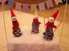 Skiing pinecone elves #christmas #decorations