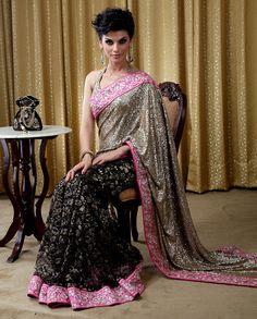 Beautiful saree with lace pleats and sequin pallu - LadySelection Indian Wedding Fashion, Indian Fashion, Traditional Fashion, Traditional Outfits, Middle Eastern Fashion, Modern Saree, Indian Ethnic Wear, Indian Style, Elegant Saree