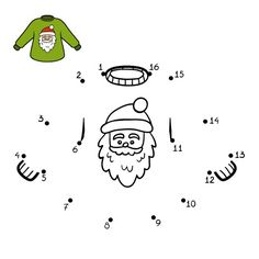 Numbers game, education dot to dot game for children, Pullover with Santa Claus
