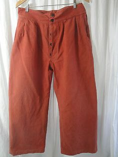 Vtg 20s 30s french duck canvas hunting work chore #mariner #pants #trousers,  View more on the LINK: http://www.zeppy.io/product/gb/2/371607066964/