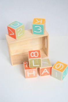 Alphabet Wood Building Blocks  Pastel Wood Blocks  by Mmim on Etsy, $40.00