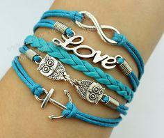 silvery lover owl bracelet anchor bracelet love by handworld, $6.29