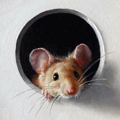 Illustration by Marina Dieul ~ The mouse. - Illustration by Marina Dieul ~ The mouse looks like he is about to crawl through… - Animals And Pets, Baby Animals, Funny Animals, Cute Animals, Animal Paintings, Animal Drawings, Maus Illustration, Cute Mouse, House Drawing