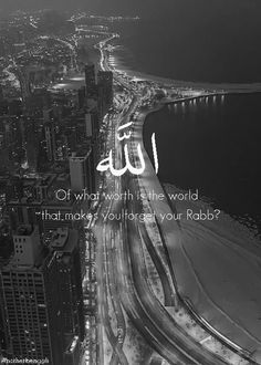 Of what worth is the world that makes you forget your Rabb?