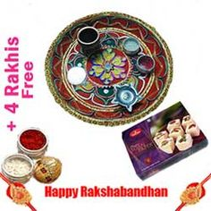 """Beautifully Gift Wrapped Designer Pooja Thali (8-9"""") with Soan Papdi(Gross Weight:1 Kg) from Haldiram and 4 Free Rakhis, Roli Tilak and Chawal. -Send this exclusive Rakhi Gifts to your loved ones through us. (Delivery Within 2 To 4 Days)"""