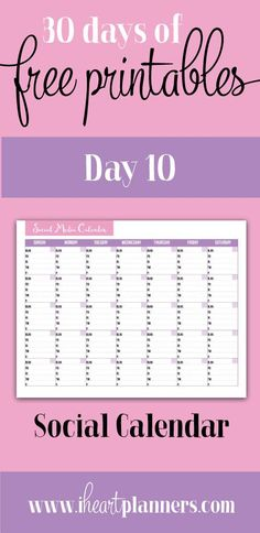 social calendar - free printable - business