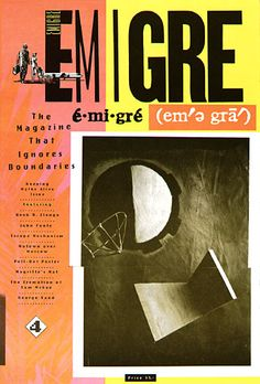 Emigre Magazine Issue The Magazine That Ignores Boundaries. State-of-the-art computer typesetting and type design by Zuzana Licko are utilized throughout this issue. Emigre Magazine, Design Editorial, Magazin Design, Magazine Editorial, Graphic Design Inspiration, Typography Inspiration, Typography Design, Graphic Illustration, Layout