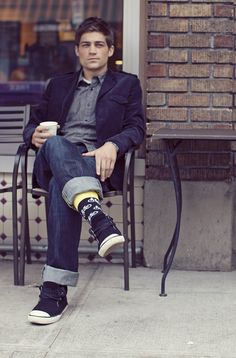 The Portlander: blazer, dark denim, bike socks, sneaks, and a cup of coffee