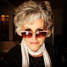 A year ago I was bald. Now Ive got a crazy old-lady silver pelt retro sunglasses that my kid picked out winged eyeliner and a rock-star scarf vibe thing going on. Getting old is a lot of damn fun. Fear not my younger friends: liberation awaits. Happy Monday to you! #mommy #metalhead #librarian #hippie #writer #writing #memoir #memoirs #motleycrue #metallica #megadeth #metalbladerecords #losangeles #sunsetstrip #truestory #nonfiction #chemohair #breastcancer #fuckthatshit #letsrock #granny…
