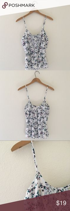 • Sakura Floral Tank • No Tags • White/teal/purple • Small - medium  • Darling tank with adjustable straps and floral design throughout • 10/10 Condition Abercrombie & Fitch Tops Tank Tops