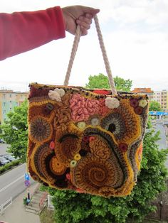 Desert roses sahara  freeform crochet big bag by handmadestreet101
