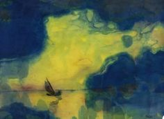 Emil Nolde - The sea at dusk. n.d. Watercolor on paper, 13 1/8 x 17 3/4 in. (33.4 x 45.1 cm).
