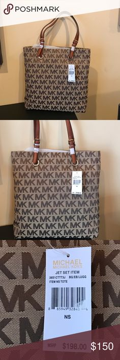 "Michael Kors Signature Jet Set Tote Authentic Michael Kors Signature Monogrammed Jet Set Tote Beige/Brown. 13 1/2"" x 14 1/2"" x 3 1/2"". 9"" strap drop. Brand new with tags. Michael Kors Bags Totes"