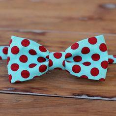 Mens Bow Tie  Turquoise zachtblauw en Bright Red door becauseimme