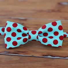Boys Bow Tie  Soft Turquoise and Bright Red Dot by becauseimme