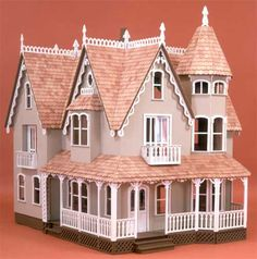 Picture of the Garfield Dollhouse by Greenleaf, this is a wonderful wooden dollhouse kit that is perfect as a family project.