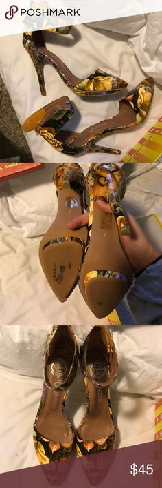 Flower patterned heels Worn once  Kept in box while not in use  Velcro strap that goes around ankle Jeffrey Campbell Shoes Heels