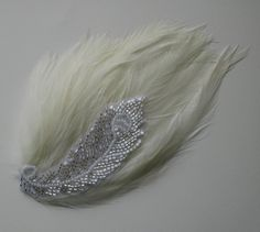 Ivory Feather Hair Clip Peacock Applique.