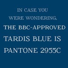 Tardis 10th blue colour codes approved by bbc pantone 2955c tardis blue pantone paint color for my kitchen malvernweather Image collections