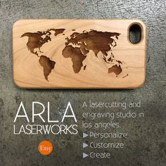 World Map Wood iPhone Case Map of the World by ArlaLaserWorks
