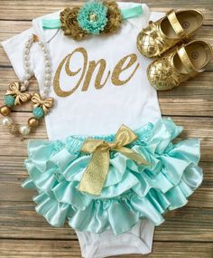 Aqua Gold Birthday/Vintage/First Birthday/Ruffle by BabyTrendzz