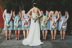 simple grey bridesmaid dresses with rainbowsashes// back of dress + bouquets