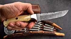 Damascus steel Narrow blade Hunting knifeoverall length is length made of camel bone with steel bolster 456 layers with rockwell sharp as razor and hold good edgealso come with leather sheath if anyone interested to purchase so pm methanks Skinning Knife, Damascus Steel, Kitchen Knives, Blade, Hunting, Leather, Llamas, Fighter Jets