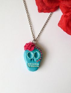 Handmade Sugar Skull Polymer Clay necklace Turquoise by DeadMamas Polymer Clay Necklace, Sugar Skull, Turquoise, Pendant Necklace, Trending Outfits, Unique Jewelry, Handmade Gifts, Etsy, Vintage