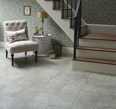 Neutral grey tile is a great look for the foyer.