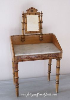 Antique French Faux Bamboo Dolls Dressing Table Wash Stand With Marble Top www.fatiguedfrenchfinds.com