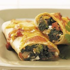 Spinach n Broccoli Enchiladas Recipe from Lesley Tragesser in Charleston, Missouri  from Healthy Cooking magazine vegetarian-dinners