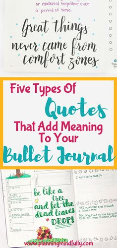 The perfect quote can really add meaning and inspiration to any bullet page. Read the five types of quotes that are great for any type of bujo, along with ideas and tips to make them awesome! Bullet Journal How To Start A, Bullet Journal Spread, Bullet Journal Layout, Bullet Journal Inspiration, Journal Ideas, Bullet Journals, Journal Quotes, Journal Prompts, Bujo
