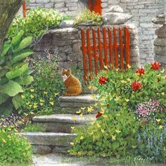 kirbister cat miniature watercolour painting by tracy hall